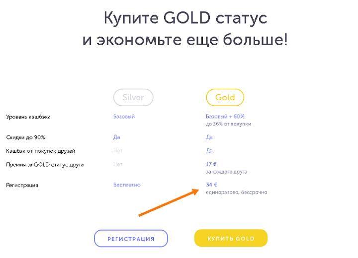 Добровольно-принудительная регистрация в Switips стоимостью €34. Без покупки Gold-аккаунта у вас будет мизерный кэшбэк, а также вы не сможете получать вознаграждение за втягивание в сетевой маркетинг дорогих и близких вам людей