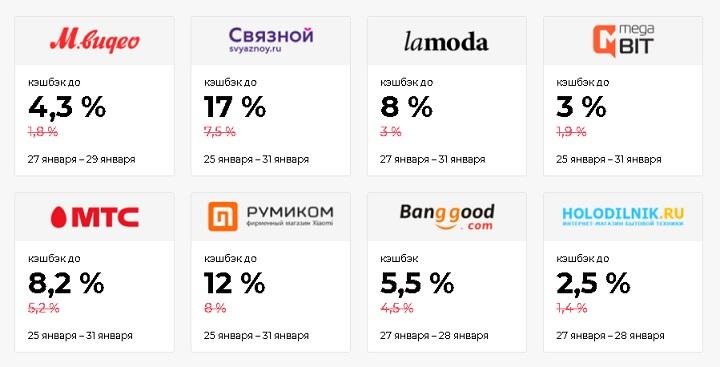 Для распродажи Киберпонедельник-2020 кэшбэк-сервис Backit предложил кэшбэк в 22 популярных магазинах