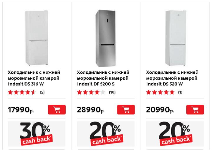 Холодильники Indesit, участвующие в акции