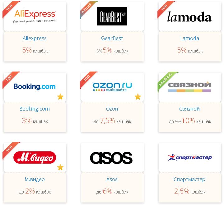 Пример размера кэшбэка в девяти крупных интернет-магазинах от сервиса Letyshops