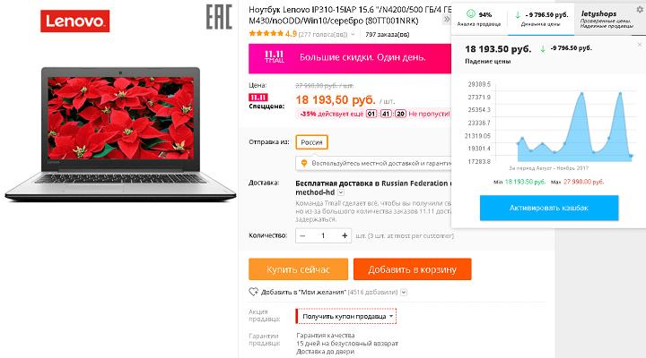 """Ноутбук Lenovo IP310-15IAP 15.6"""" на Tmall со псевдоскидкой в 35%"""