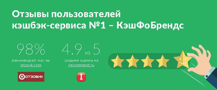 Cash4brands имеет среди кэшбэк-сервисов самый высокий рейтинг на агрегаторах отзывов - 4,81 на Otzovik и 4,90 на iRecommend