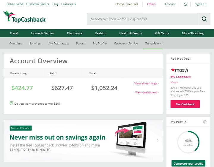 Главная страница TopCashback, лучшего кэшбэк-сервиса для покупок в иностранных интернет-магазинах