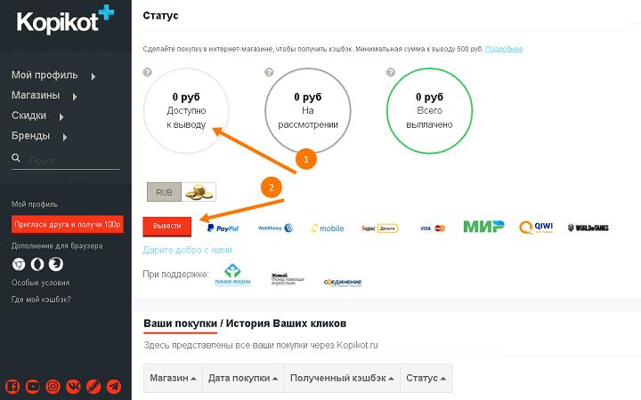 Выводятся деньги у Kopikot через тот же раздел, где находится информация о заказах